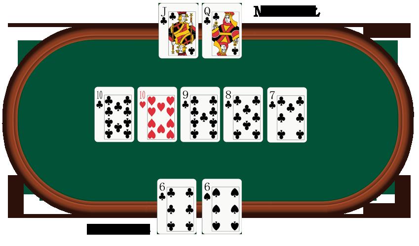 poker-Q-J-10-9-8 vs 10-9-8-7-6